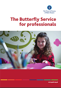 The butterfly service for professionals information leaflet providing valuable information of the child bereavement service to health care professionals, the service is offered by The Prince & Princess of Wales Hospice in Glasgow