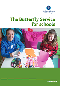 The butterfly service for schools information leaflet providing vauable information of the child bereavement service offered by The Prince & Princess of Wales Hospice in Glasgow