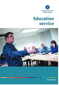 Education service leaflet containing useful information about the various courses available, delivered and offered by The Prince & Princess of Wales Hospice in Glasgow