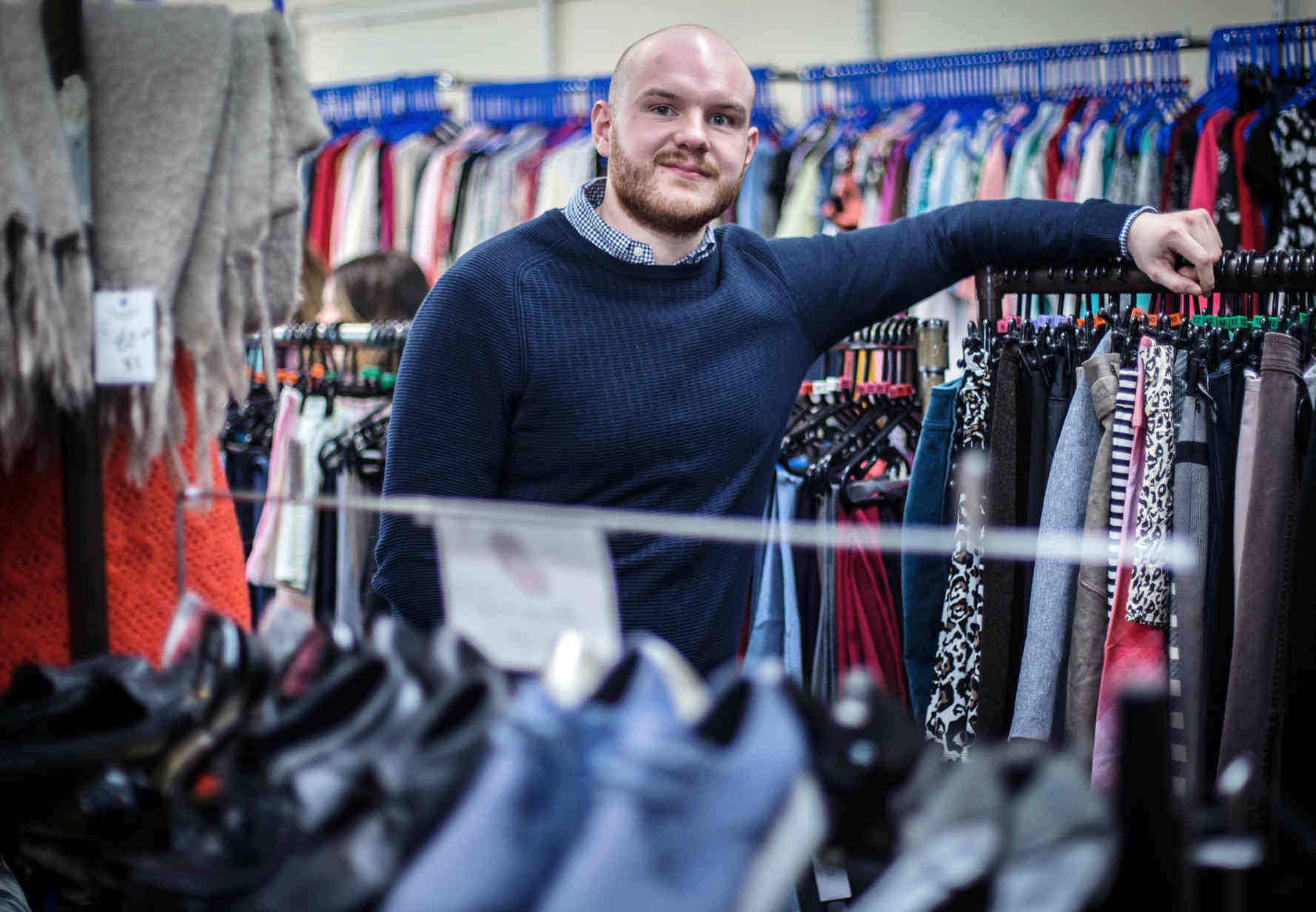 Volunteer Josh Hollywood in the Cardonald Hospice Shop