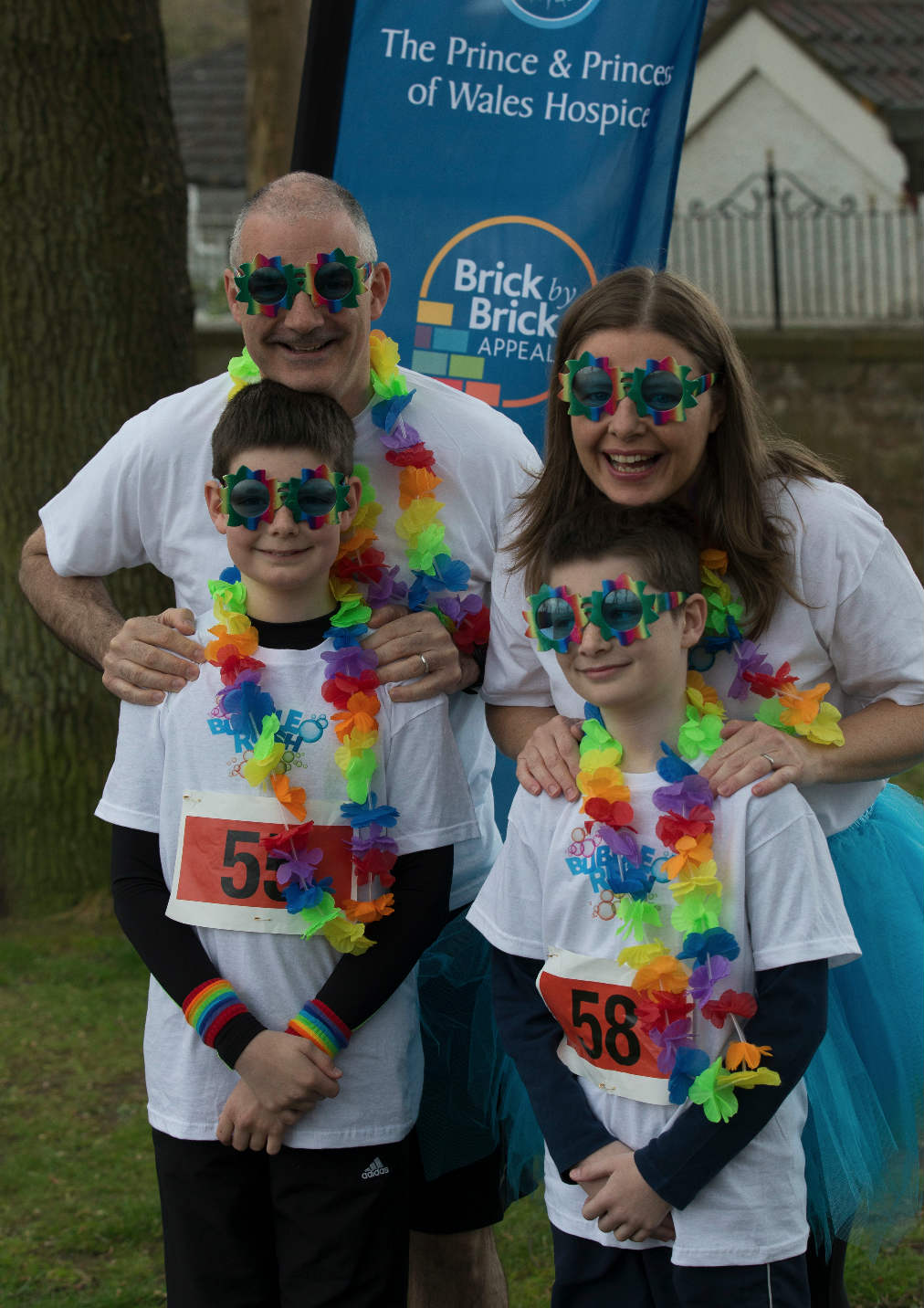 Susan and her family fundraising at Bubble Rush for Glasgow's Hospice